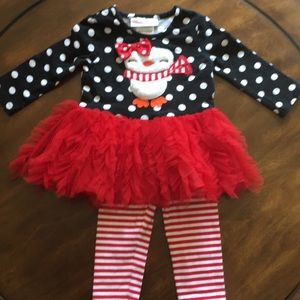 Bonnie baby penguin winter/Christmas outfit